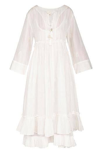 White Hand Embroidered Pleated Midi Dress by Irabira