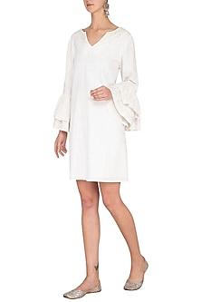 White Hand Embroidered Ruffled Dress by Irabira