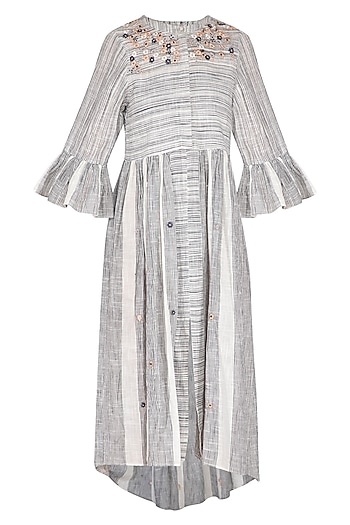 Grey & White Hand Embroidered Striped Shirt Dress by Irabira