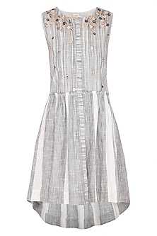 Grey & White Hand Embroidered Striped High-Low Dress by Irabira