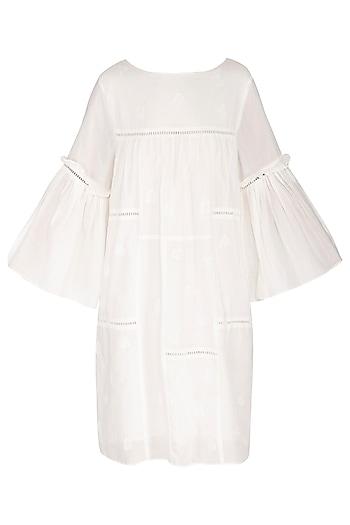 White Hand Embroidered Foliage Ruffled Dress by Irabira