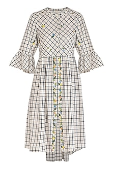 White Checkered Shirt Dress With Floral Embroidery  by Irabira