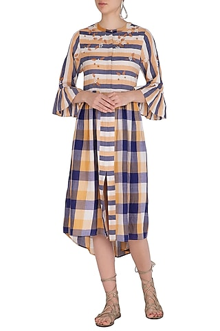 Ochre Embroidered Shirt Dress by Irabira