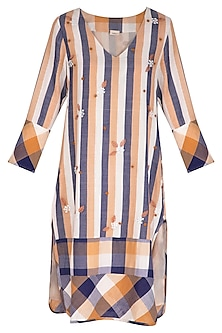Ochre Embroidered Long Line Dress by Irabira