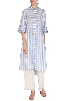 Indigo Long Line Linen Shirt Dress by Irabira