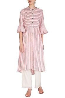 Red Long Line Shirt Dress by Irabira