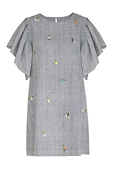 Indigo Embroidered Textured Dress by Irabira