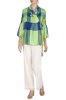 Green Embroidered High-Low Top by Irabira