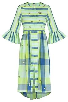 Green Embroidered Shirt Dress by Irabira
