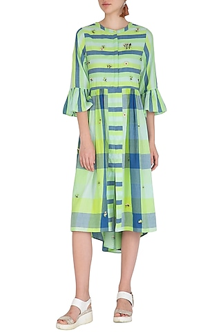 Green Embroidered Shirt Dress by Irabira