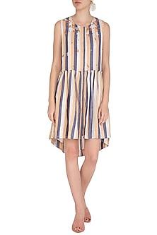 Ochre Embroidered Striped Dress by Irabira