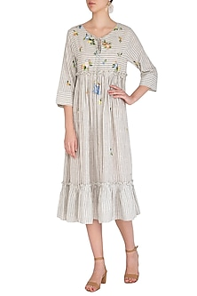Indigo Embroidered Striped Dress by Irabira