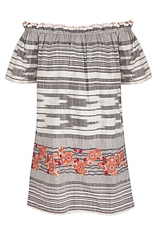 Grey 3D Hand Embroidered Dress by Irabira