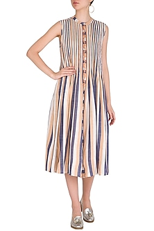 Ochre Pleated, Striped & Embroidered Dress by Irabira