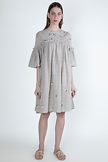 Beige Embroidered & Checkered Dress by Irabira