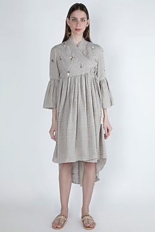 Beige Embroidered High-Low Tunic by Irabira
