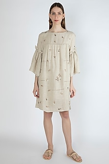 Beige Embroidered Textured Dress by Irabira