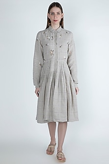 Beige Floral Embroidered Dress by Irabira