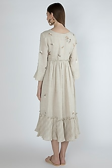 Beige Embroidered Midi Dress by Irabira