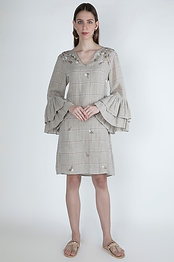 Beige Embroidered Dress With Ruffled Sleeves by Irabira