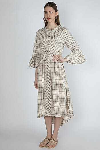 Beige Embroidered Shirt Dress by Irabira