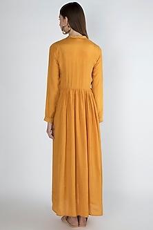 Orange Pleated Maxi Dress With Slip by Irabira Urban