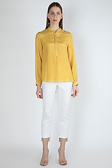 Candle Light Yellow Blouse With Slip by Irabira Urban