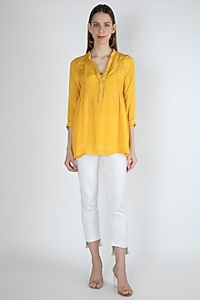 Gold Yellow Smocked Blouse With Slip by Irabira Urban