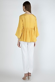 Candle Light Yellow Gathered Blouse With Slip by Irabira Urban