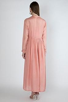 Salmon Pink Maxi Dress With Slip by Irabira Urban