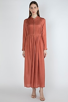 Punch Pink Maxi Dress With Slip by Irabira Urban