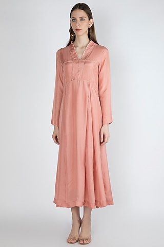 Salmon Pink Kurta Dress With Slip by Irabira Urban