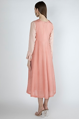 Salmon Pink Embroidered Kurta Dress With Slip by Irabira Urban