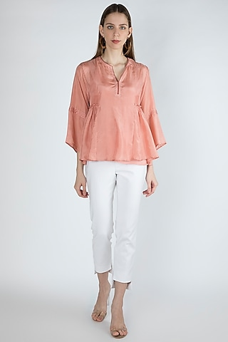 Salmon Pink Gathered Blouse With Slip by Irabira Urban
