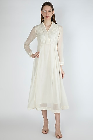 Off White Kurta Dress With Slip by Irabira Urban