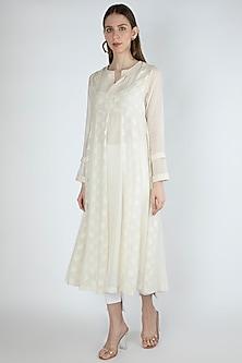 Off White Embroidered Kurta Dress With Slip by Irabira