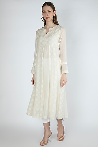 Off White Embroidered Kurta Dress With Slip by Irabira Urban