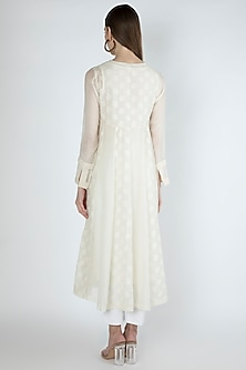 Off White Embroidered Kurta Dress With Slip by Irabira Urban