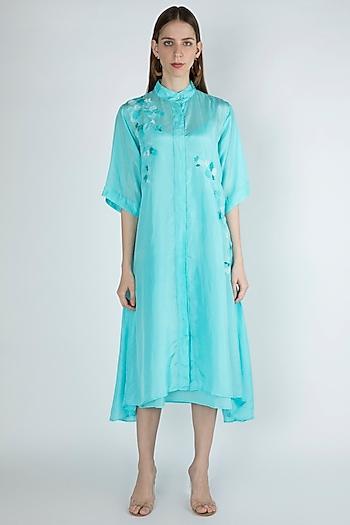 True Blue Embroidered Shirt Dress by Irabira