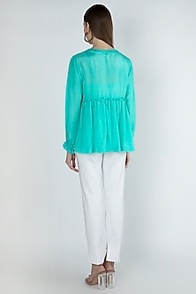 Aqua Blue Embroidered Gathered Blouse by Irabira
