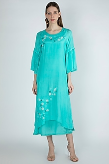 Aqua Blue Embroidered A-Line Dress by Irabira