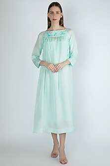 Light Aqua Blue Embroidered Dress With Slip by Irabira
