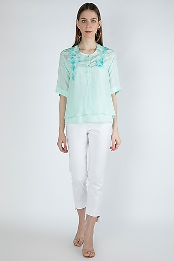 Light Aqua Blue Embroidered Blouse With Slip by Irabira