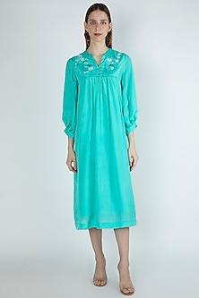 Aqua Blue Embroidered Gathered Dress by Irabira