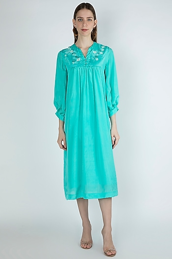 Aqua Blue Embroidered Gathered Dress by Irabira