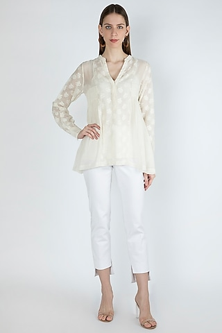 Off White Smocked Blouse With Slip by Irabira Urban