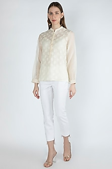 Off White Embroidered Blouse With Slip by Irabira Urban