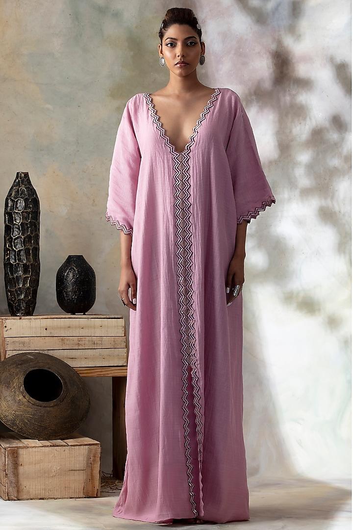 Lavender Sequins Embroidered Kaftan by Isha Mittal