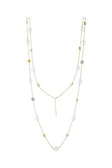 Gold Finish Necklace With Swarovski Crystals & Pearls by Isharya X Confluence
