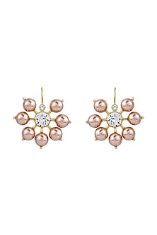 Gold Finish Earrings With Swarovski Crystals & Pearls by Isharya X Confluence